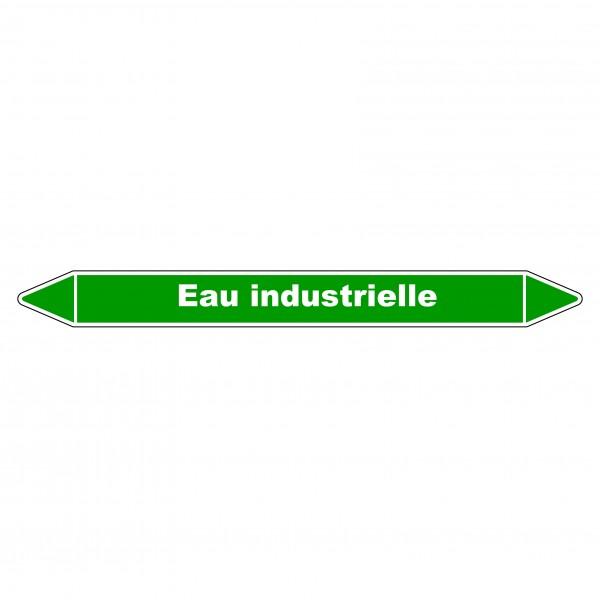 """Marqueur de Tuyauterie """"Eau Industrielle"""" en Vinyle Laminé"""