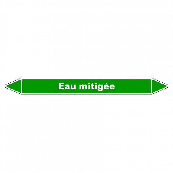"""Marqueur de Tuyauterie """"Eau Mitigée"""" en Vinyle Laminé"""