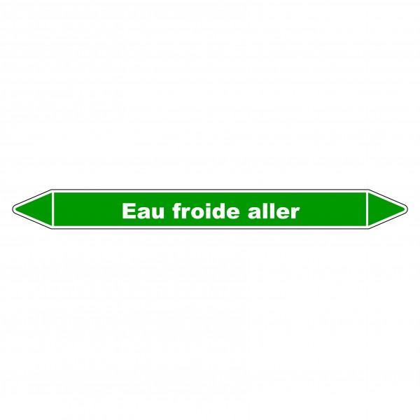 "Marqueur de Tuyauterie ""Eau froide aller"" en Vinyle Laminé"