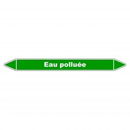 """Marqueur de Tuyauterie """"Eau Polluée"""" en Vinyle Laminé"""