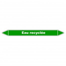 """Marqueur de Tuyauterie """"Eau Recyclée"""" en Vinyle Laminé"""
