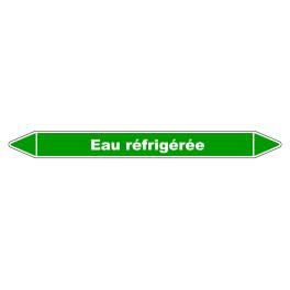 """Marqueur de Tuyauterie """"Eau Refrigérée"""" en Vinyle Laminé"""