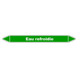"""Marqueur de Tuyauterie """"Eau Refroidie"""" en Vinyle Laminé"""