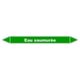 """Marqueur de Tuyauterie """"Eau Saumurée"""" en Vinyle Laminé"""