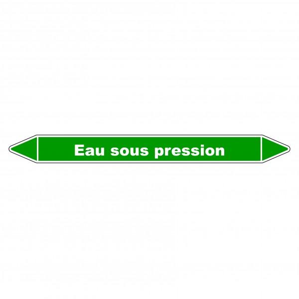 """Marqueur de Tuyauterie """"Eau sous Pression"""" en Vinyle Laminé"""