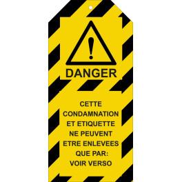 """Étiquettes de Condamnation """"Danger"""" 50 x 110 mm"""