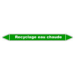 Marqueur de Tuyauterie Recyclage eau chaude 150 x 12 mm Vinyle Laminé