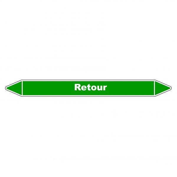 Marqueur de Tuyauterie Retour 150 x 12 mm Vinyle Laminé