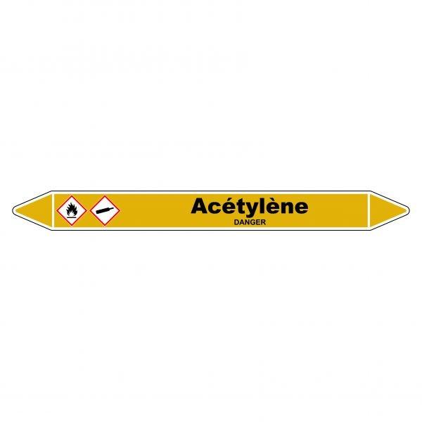 Marqueur de Tuyauterie Acétylène 150 x 12 mm Vinyle Laminé