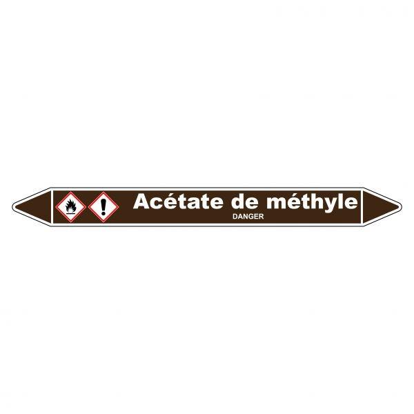 Marqueur de Tuyauterie Acétate de méthyle 150 x 12 mm Vinyle Laminé
