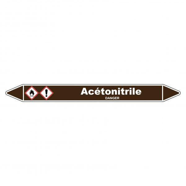 Marqueur de Tuyauterie Acétonitrile 150 x 12 mm Vinyle Laminé