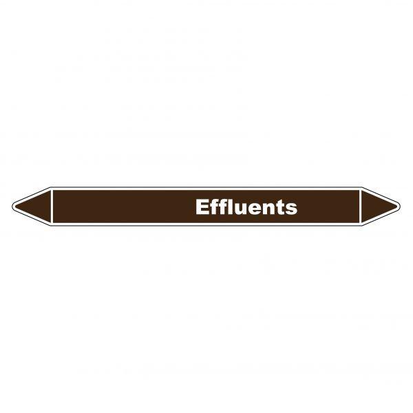 Marqueur de Tuyauterie Effluents 150 x 12 mm Vinyle Laminé
