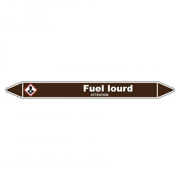 Marqueur de Tuyauterie Fuel lourd 150 x 12 mm Vinyle Laminé