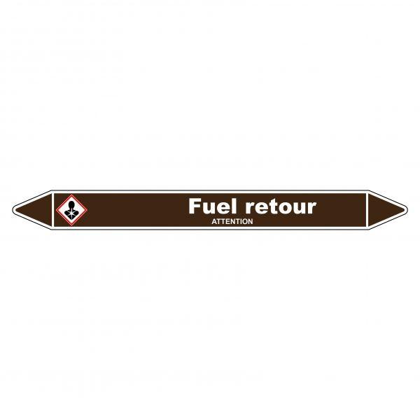 Marqueur de Tuyauterie Fuel retour 150 x 12 mm Vinyle Laminé