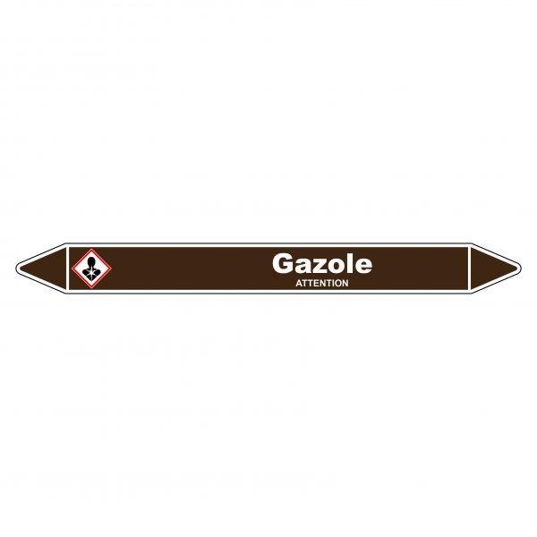 Marqueur de Tuyauterie Gazole 150 x 12 mm Vinyle Laminé