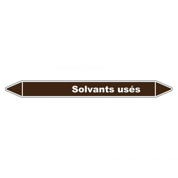 Marqueur de Tuyauterie Solvants usés 150 x 12 mm Vinyle Laminé