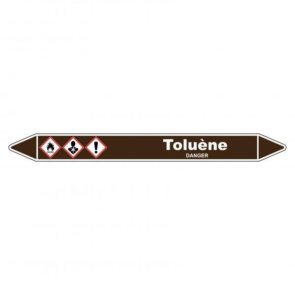 Marqueur de Tuyauterie Toluène 150 x 12 mm Vinyle Laminé