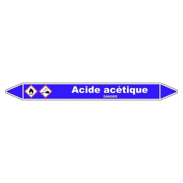 Marqueur de Tuyauterie Acide acétique 150 x 12 mm Vinyle Laminé