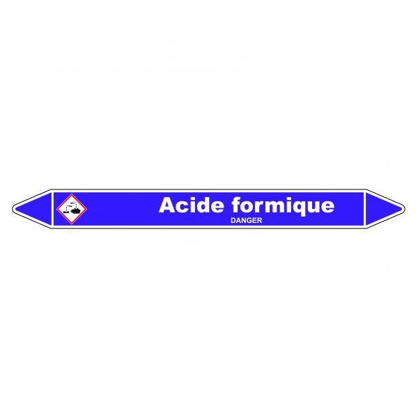 Marqueur de Tuyauterie Acide formique 150 x 12 mm Vinyle Laminé