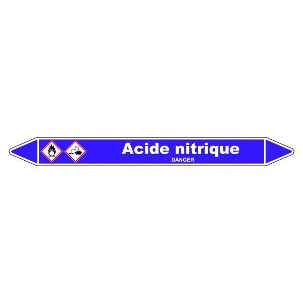 Marqueur de Tuyauterie Acide nitrique 150 x 12 mm Vinyle Laminé