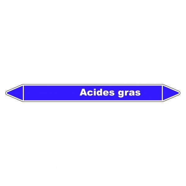 Marqueur de Tuyauterie Acides gras 150 x 12 mm Vinyle Laminé