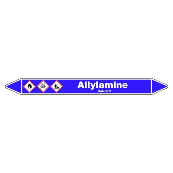 Marqueur de Tuyauterie Allylamine 150 x 12 mm Vinyle Laminé