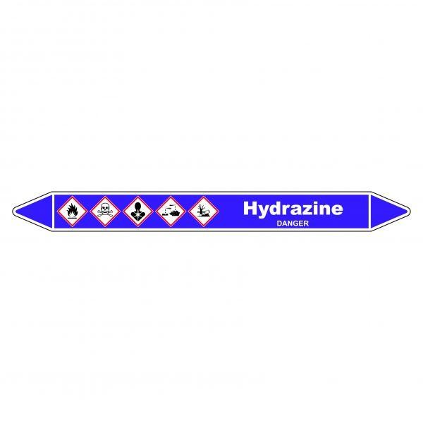 Marqueur de Tuyauterie Hydrazine 150 x 12 mm Vinyle Laminé
