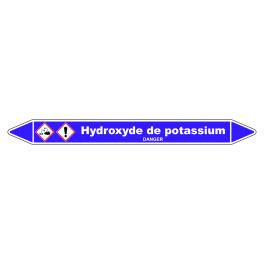 Marqueur de Tuyauterie Hydroxyde de potassium 150 x 12 mm Vinyle Laminé