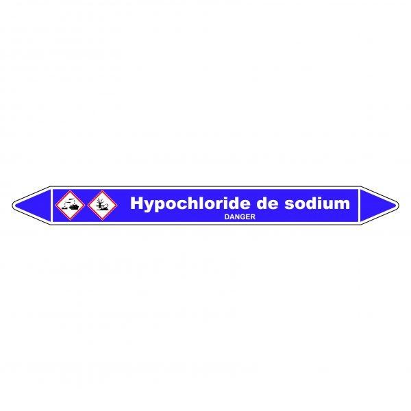 Marqueur de Tuyauterie Hypochlorite de sodium 150 x 12 mm Vinyle Laminé