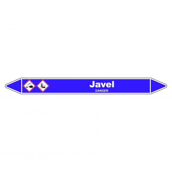Marqueur de Tuyauterie Javel 150 x 12 mm Vinyle Laminé