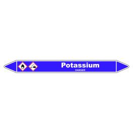 Marqueur de Tuyauterie Potassium 150 x 12 mm Vinyle Laminé