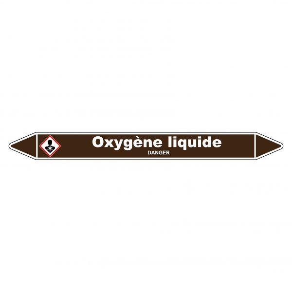 """Marqueur de Tuyauterie """"Oxygène liquide"""" en Vinyle Laminé"""