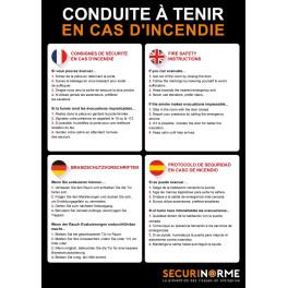 Poster conduite à tenir en cas d'incendie 4 langues