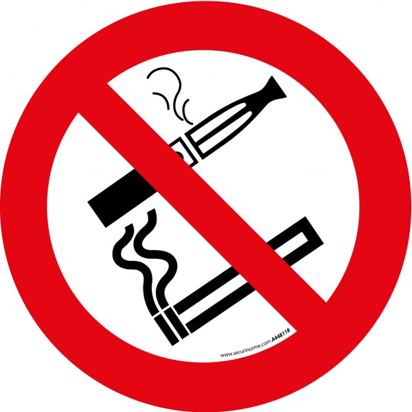 """Pictogramme d'Interdiction """"Interdiction de fumer et vapoter"""""""