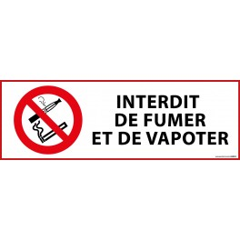 "Panneau d'Interdiction ""Interdiction de fumer et vapoter"""