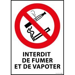 """Panneau """"Interdiction de fumer et vapoter"""""""
