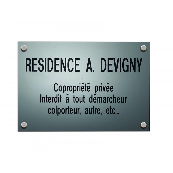 Plaque professionnelle Design Silver personnalisable