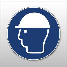 """Panneau rond ISO EN 7010 """"Casque de protection obligatoire"""" M014"""