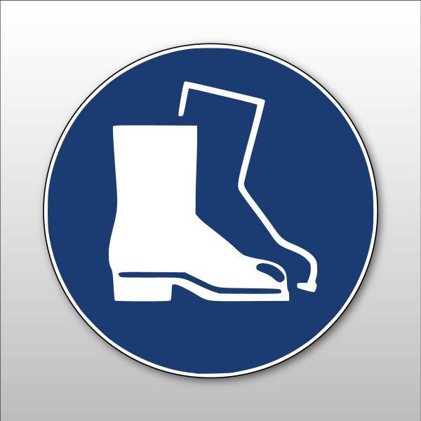 """Panneau rond ISO EN 7010 """"Chaussures de sécurité obligatoires"""" M008"""