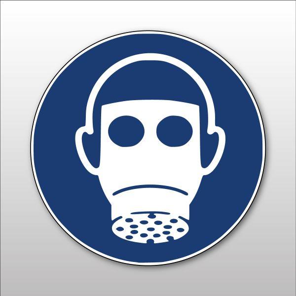"""Panneau rond ISO EN 7010 """"Protection des voies respiratoires obligatoire"""" M017"""
