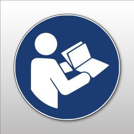 """Panneau rond ISO EN 7010 """"Consulter le manuel/la notice d'instructions"""" M002"""