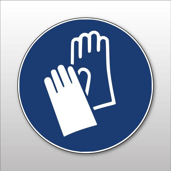 """Panneau rond ISO EN 7010 """"Gants de protection obligatoires"""" M009"""