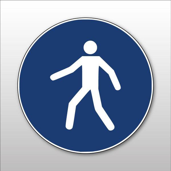 """Panneau rond ISO EN 7010 """"Utiliser le passage"""" M024"""