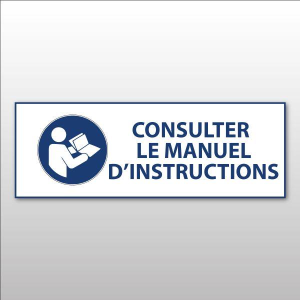"""Panneau d'obligation ISO EN 7010 """"Consulter le manuel/la notice d'instructions"""" M002"""