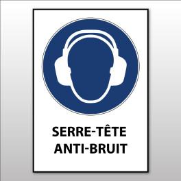 """Panneau d'obligation ISO EN 7010 'Serre-tête anti-bruit obligatoire"""" M003"""