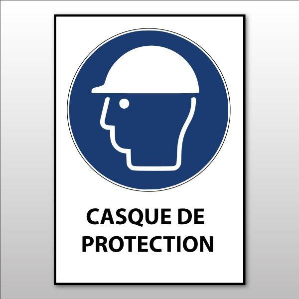 """Panneau d'obligation ISO EN 7010 """"Casque de protection obligatoire"""" M014"""