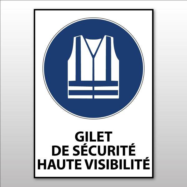 """Panneau d'obligation ISO EN 7010 """"Gilet de sécurité haute visibilité obligatoire"""" M015"""