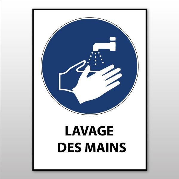 """Panneau d'obligation ISO EN 7010 """"Lavage des mains obligatoire"""" M011"""
