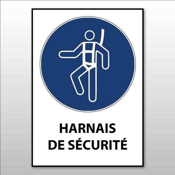 """Panneau d'obligation ISO EN 7010 """"Harnais de sécurité obligatoire"""" M018"""