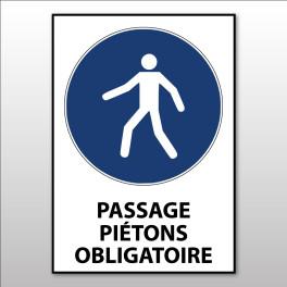 """Panneau d'obligation ISO EN 7010 """"Passage piétons obligatoire"""" M024"""